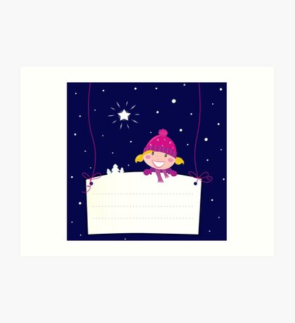 Cute christmas blond hair girl holding a blank banner label for message Art Print