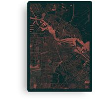 Amsterdam Map Red Canvas Print