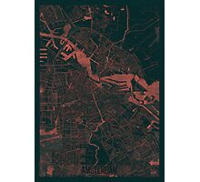 Amsterdam Map Red Photographic Print
