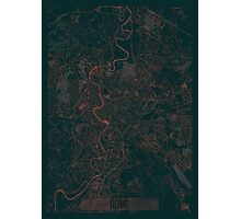 Rome Map Red Photographic Print