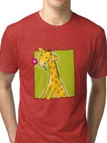 Girafe with flower Tri-blend T-Shirt