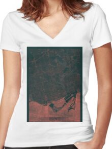 Toronto Map Red Women's Fitted V-Neck T-Shirt