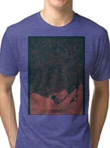 Toronto Map Red Tri-blend T-Shirt