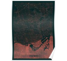 Toronto Map Red Poster