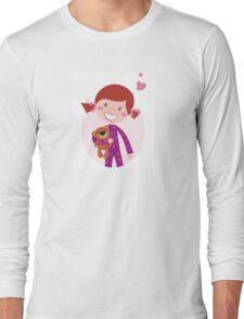 Happy little girl hugging teddy bear. Cute little girl with her new toy - Teddy Bear Long Sleeve T-Shirt