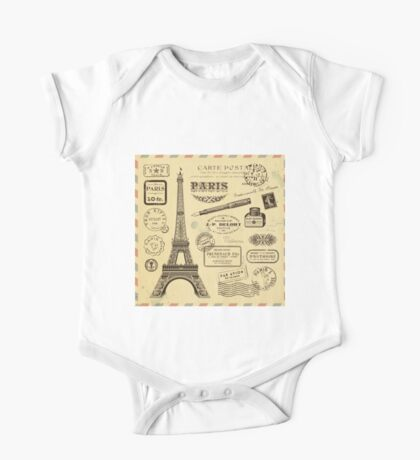 Rustic,paris,Eiffel tower,grunge,shabby chic,french,collage,postal,stamps,elegant,chic One Piece - Short Sleeve