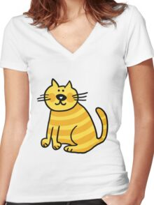 Yellow Cat Women's Fitted V-Neck T-Shirt