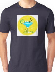 Blue Margarita: Retro cocktail icon on yellow background Unisex T-Shirt