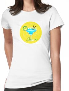 Blue Margarita: Retro cocktail icon on yellow background Womens Fitted T-Shirt