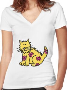 Yellow Wild Cat Women's Fitted V-Neck T-Shirt