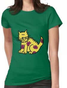 Yellow Wild Cat Womens Fitted T-Shirt