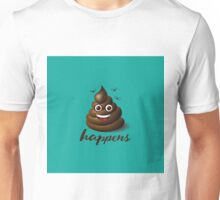 Shit happens emoticon on aqua blue. Unisex T-Shirt