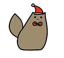 Brown Christmas Kitty Photographic Print