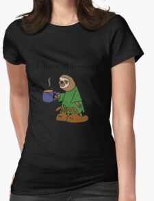 Funny I Hate Mornings Sloth Cartoon Womens Fitted T-Shirt