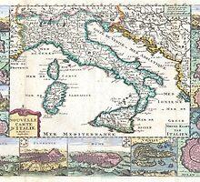 Vintage Map of Italy (1706) by BravuraMedia