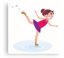Illustration of figure skating cute girl training on the ice Canvas Print