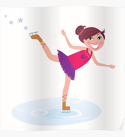 Illustration of figure skating cute girl training on the ice Poster