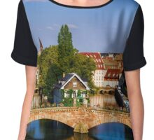 Old historical center of Strasbourg. Fortress towers and briges in Little France with reflection in the river. Touristic concept Chiffon Top