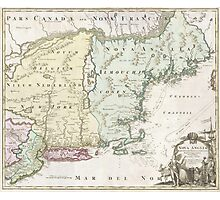 Vintage Map of New England (1716) Photographic Print