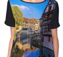 Old center of Strasbourg. Typical alsacien houses on the river. Vivid colors on sunset. Touristic concept. Chiffon Top