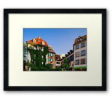 Classic colorized timber-framed alsacien houses in the street of Little France, Strasbourg, touristic concept Framed Print