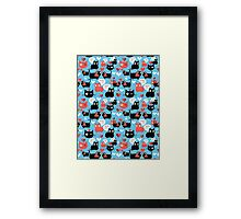Graphic pattern with lovers cats Framed Print