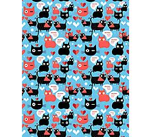 Graphic pattern with lovers cats Photographic Print