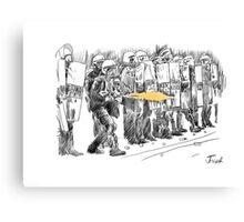 riot cops study Canvas Print
