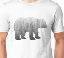 Misty Forest Bear - Black and White Unisex T-Shirt