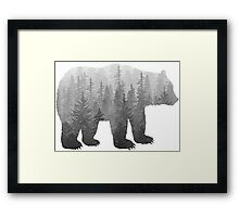 Misty Forest Bear - Black and White Framed Print