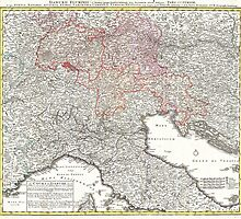 Vintage Map of Northern Italy (1720)  by BravuraMedia