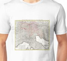 Vintage Map of Northern Italy (1720)  Unisex T-Shirt