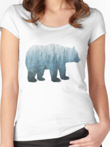 Misty Forest Bear - Turquoise Women's Fitted Scoop T-Shirt