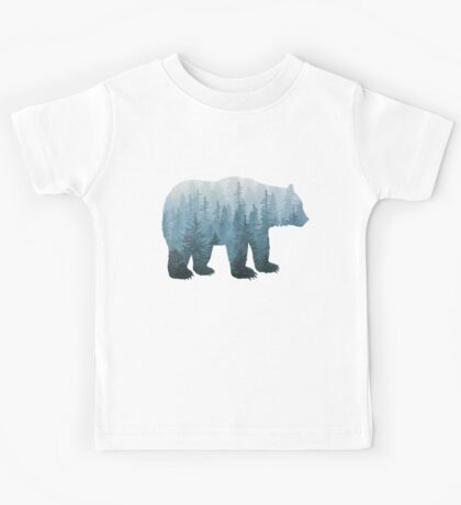 Misty Forest Bear - Turquoise Kids Tee