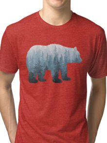 Misty Forest Bear - Turquoise Tri-blend T-Shirt