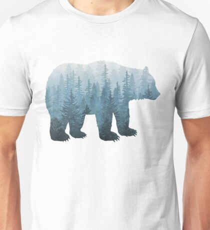 Misty Forest Bear - Turquoise Unisex T-Shirt