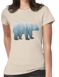 Misty Forest Bear - Turquoise Womens Fitted T-Shirt