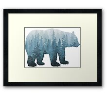 Misty Forest Bear - Turquoise Framed Print