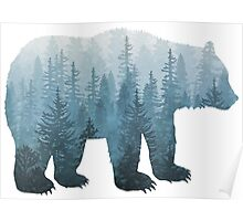 Misty Forest Bear - Turquoise Poster