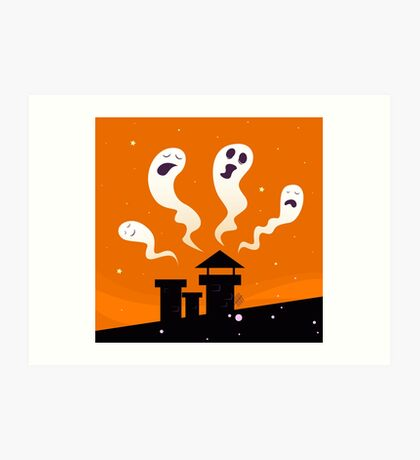 Halloween night: Spooky ghost characters isolated on orange background Art Print