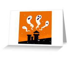Halloween night: Spooky ghost characters isolated on orange background Greeting Card