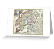 Vintage Map of Scandinavia (1730)  Greeting Card