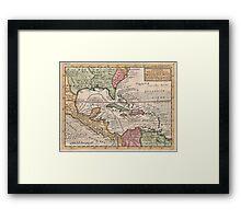 Vintage Map of The Caribbean (1732) Framed Print
