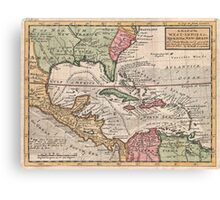 Vintage Map of The Caribbean (1732) Canvas Print