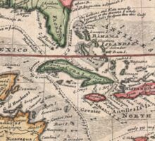 Vintage Map of The Caribbean (1732) Sticker