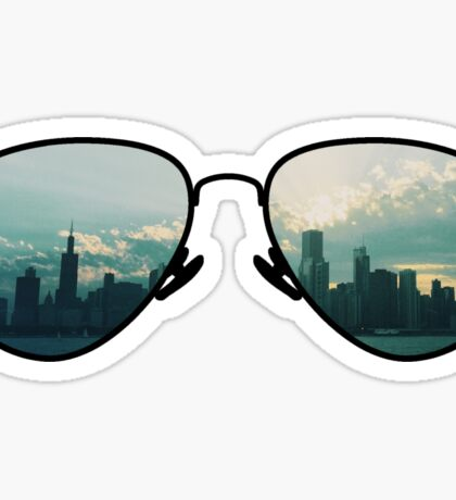 City Through Sunglasses Sticker