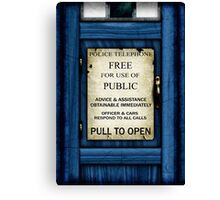 Free For Use Of Public - Tardis Door Sign - (please see description) Canvas Print