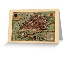 Map Of Antwerp 1560 Greeting Card
