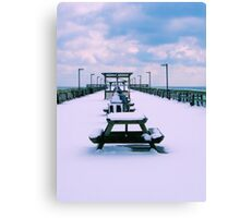 Snow Comes To The Beach Canvas Print