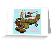Funny Santa on Rudolph plane drawing Greeting Card